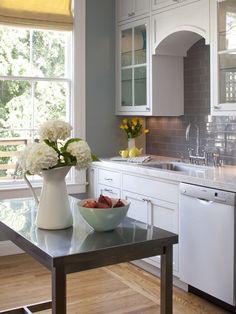 Gray White Granite Blue Backsplash Design, Pictures, Remodel, Decor and Ideas