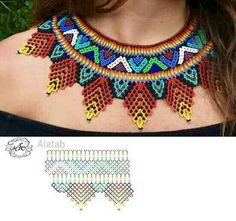 Beading Patterns Free, Bead Loom Patterns, Beading Tutorials, Diy Necklace Patterns, Beaded Jewelry Patterns, Beaded Crafts, Beaded Collar, Collar Pattern, Zulu