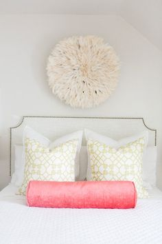 A neutral bedroom with a bold pop of color: http://www.stylemepretty.com/living/2016/04/12/color-happy-home-that-pantone-would-drool-over/ | Photography: Kate Osborne - http://kateosbornephotography.com/index2.php#!/h_o_m_e