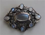 SYBIL DUNLOP - A SILVER MOUNTED MOONSTONE SET BROOCH 4.7CM X 3.6CM - SALE 383 - LOT 289 - LYON & TURNBULL