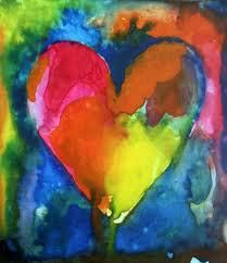 Heart Art in water color splashes. This design inspires me to create more.