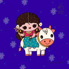 Divine Goddess, Durga Goddess, God Pictures, Cute Couple Pictures, 8th Day Of Navratri, Maa Durga Image, Durga Ji, Durga Images, Kawaii Illustration