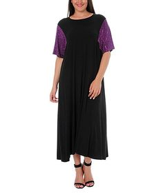 Look what I found on #zulily! Black & Purple Maxi Dress - Plus by Hüseyin KÜÇÜK #zulilyfinds
