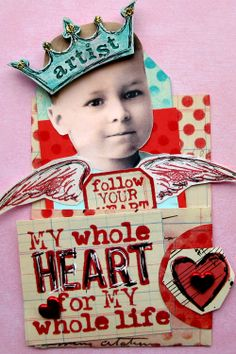 ATC Project 2014 My Whole Heart Pocket Valentine made with love by Sharon Wisely