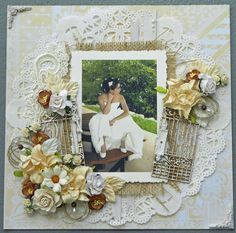 Love everything about this one. Doily. Gates. Colours. Burlap. Lush!!