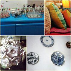 minha casa estilo boho - pratos nas paredes almofadas coloridas - flores naturais, de seda e até de papel de velhas partituras. (Rose OAK)