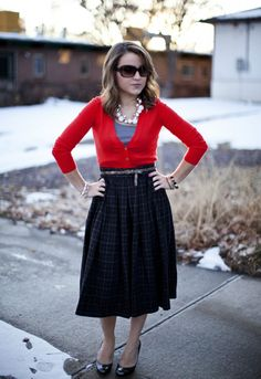 red cardi + plaid skirt = holiday cheer (Hello, Framboise!)