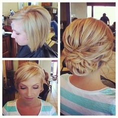 Short hair updo! I didn't think this was possible!  So exciting! Lol #hair #cut #style #hairstyle #haircut #color #colorful #haircolor #trend #fashion #women #girl #beauty #beautiful #short #bun