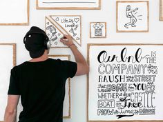 """Timothy Goodman was commissioned by Airbnb to design a wall installation in Airbnb's new San Francisco office. """"We cut and painted 115 pieces of plywood that were used for…View Post Timothy Goodman, Hand Illustration, Graphic Design Illustration, Decoracion Low Cost, Illustrator, San Francisco, Wall Installation, Art Installations, Digital Signage"""