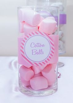 "Host a spa birthday party with marshmallow ""cotton balls"". Adorable!"