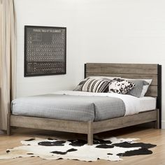 Create your dream decor with this modern farmhouse style bed from the Munich collection! The rich finish gives it an industrial look.