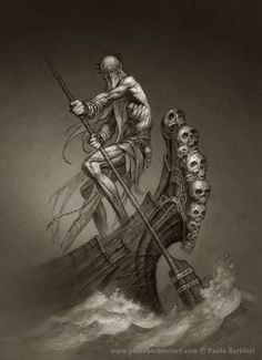 The Ferryman's First Mate Grim Reaper, Hades Tattoo, Mythological Characters, Mythological Creatures, Greek Mythology Tattoos, Demon Drawings, Dantes Inferno, Dark Pictures, Tatoo