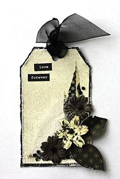 black and cream tag from Dorotka