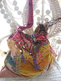 Large Boho Bag, Antique Velvet, Vintage Leather, Antique Embroidery, Beaded, Oversized, Bohemian, Gold, Pink, Blue