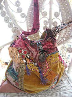 Large Boho Bag, Antique Velvet, Vintage Leather, Antique Embroidery, Beaded, Oversized, Bohemian, Gold, Pink, Blue