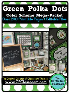 This photo shows: green polka dots classroom decor, editable name plates, teacher binder, decorations, name tags, labels, schedule cards, and more (each product is less than 25 cents!!) made by The Clutter-Free Classroom