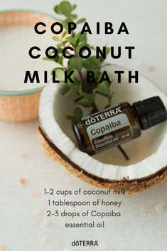 We all know how popular Copaiba essential oil is, and what's not to love about this oil? Copaiba helps calm, soothe, and support the nervous system and promotes clear, smooth skin and reduces the appearance of blemishes. Try this new way to use the oil in a soothing coconut milk bath! It will help calm you and leave your skin feeling smooth.