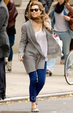 Seen on Celebrity Style Guide: Jessica Biel wearing Autumn Cashmere Open Hoodie Duster in New York City November 8 2013.