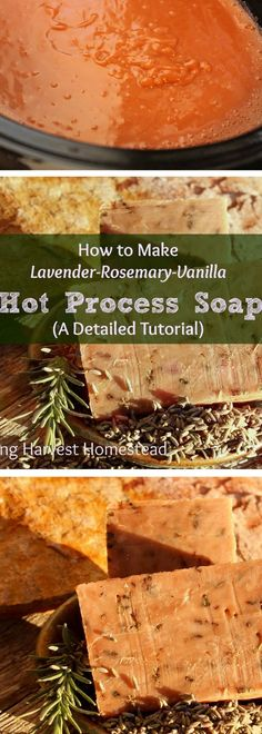 There's nothing like handmade natural soap, right? Have you ever wanted to make your own, but been a little afraid of the lye? Well, fear no more! Here is a SUPER detailed picture tutorial for Lavender-Rosemary-Vanilla Hot Process Soap. The great thing a Vanilla Essential Oil, Essential Oils, Exfoliating Soap, Wie Macht Man, Homemade Soap Recipes, Cold Process Soap, Sweet Almond Oil, Home Made Soap, Handmade Soaps