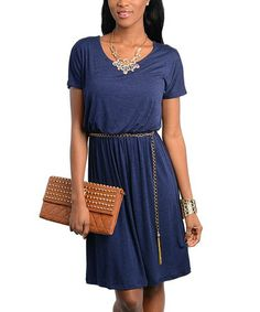 Take a look at this Navy Belted Scoop Neck Dress by Ami Sanzuri on #zulily today!