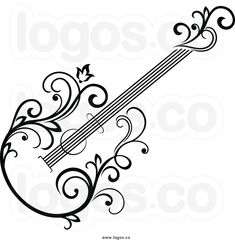 Royalty-free clip-art vector logo-of-a-black-and-white-floral-vine-guitar-by-sea . Arabesque, Beginner Tattoos, Petit Tattoo, Stencil Decor, Music Drawings, Unique Drawings, Note Tattoo, Wood Burning Patterns, Guitar Art