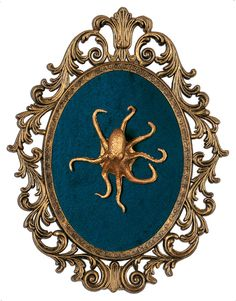 Gold Octopus Mounted in Victorian Frame  Wall Art by DeviantDecor, $70.00