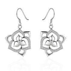 Fashionable Zircon Encrusted Silver Plated Flower Pendant Dangle Earrings, Size: 3.4cm x 1.6cm