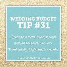 New post on The Budget Savvy Bride: Wedding Budget Tip #31: Choose a non-traditional venue