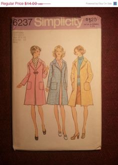 Uncut 1970's Simplicity Sewing Pattern 6237 18 & by EarthToMarrs