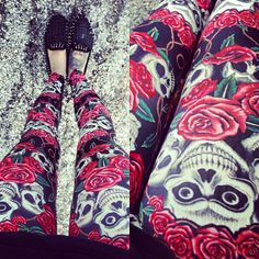 new crazy skully #leggings from @ROMWE  & @UNIF Clothing Clothing Clothing hellraisers