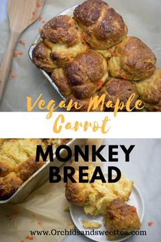 his Vegan Maple Carrot Monkey Bread is by far the best bread I've made. Super tender, sweet, and light, all at the same time. With a crunchy crust on the outside, you'll truly enjoy the inside's gooeyness from the maple and brown sugar mixture that is infused within the bread's layers. Completely dairy-free, gluten-free. #monkeybread #carrot #veganrecipes #dessert