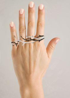 "4 Finger Ring | Audrey Savransky ""Forest""  White gold, black and white diamonds."
