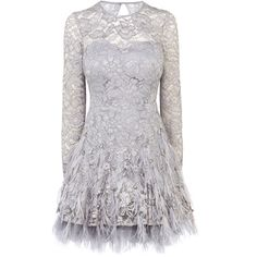 Coast Reanna Feather Dress ($505) ❤ liked on Polyvore featuring dresses, vestidos, short dresses, grey, naturals, gray lace cocktail dress, open back lace dress, mini dress, grey dress and gray cocktail dress