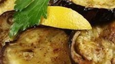 So easy!!!  Quick and easy eggplant slices are roasted in the oven with olive oil and lemon to garnish.