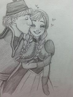 A sweet kiss by on deviantART Anna Frozen, Disney Frozen, Disney Movies, Disney Pixar, Frozen Memes, Anna Kristoff, Cute Princess, Sweet Kisses, Disney Sketches