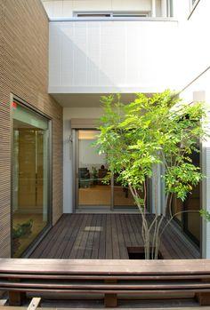 中庭 Bungalows, Atrium Garden, Indoor Outdoor Living, Outdoor Decor, Exposed Ceilings, Modern Foyer, Indoor Trees, Courtyard House, Interior Garden