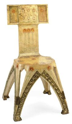 CARLO BUGATTI (1856-1940), an applied brass, painted and parcel-gilt Parchment Chair, 1902, 34¾ in. (88.2 cm.) high  |  SOLD $132,000 Christie's New York, Dec. 19, 2006