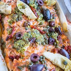Mediterranean Salmon in Parchment Paper - The Roasted Root Salmon Dishes, Fish Dishes, Seafood Dishes, Fish Recipes, Seafood Recipes, Paleo Recipes, Cooking Recipes, Bacon Recipes, Mediterranean Seafood Recipe
