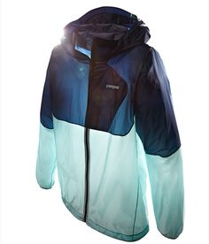 patagonia jacket - full size rain coat with hood, but folds to the size of an eggplant!
