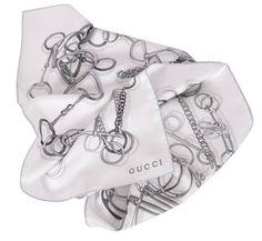 Gucci Women's 251146 White Grey Silk Horsebit Chain Twill Neck Scarf O/S