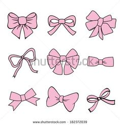 pink bows on white background. set of vector illustrations.  silhouette image of bow set - stock vector