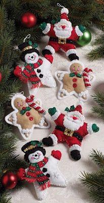 Handmade Felt Ornaments - Stuffed Star Santa, Snowman and Gingerbreadman