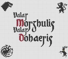 Valar Morghulis Valar Dohaeris Lannister Stark Baratheon Targaryen Game of Thrones Cross Stitch Ponto Cruz