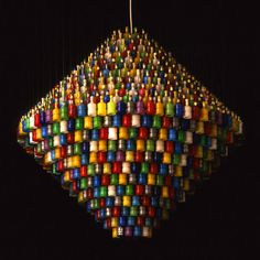Millenium Chandelier composed of 1,000 exploded Party Poppers collected after the Millennium celebrations in London by Stuart Haygarth.