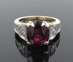 Estate Simon G. 4.5ct Ruby & 1.18ct Diamond 18K White & Yellow Gold Ring #SimonG
