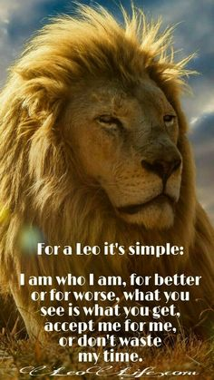 """Zodiac - Leo-I am often told that I am """"real"""", and that's what people like about me. I hear it a lot, """"you are not fake"""". I like it that way, my friends like it that way."""