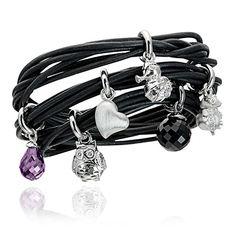 6 Strand Black Leather Story Bracelet.