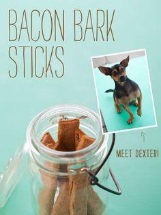 Healthy Homemade Dog Treats. Bacon Bark Sticks.