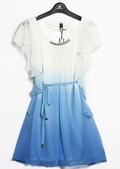 Blue Ombre Sleeveless Ruffles Drawstring Bead Dress