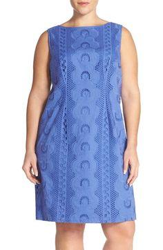 Chetta B Sleeveless Eyelet Cotton Sheath Dress (Plus Size)
